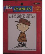 "Peanuts Charlie Brown window cling ""fascinated ... - $2.75"