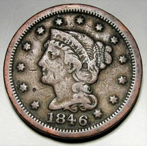 1846 Braided Hair Large Cent FINE+ AD219 - $25.09