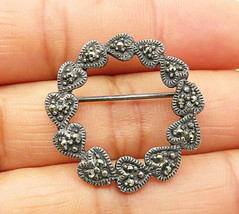 925 Sterling Silver - Vintage Marcasite Circle Of Love Hearts Brooch Pin- BP2758 - $23.28