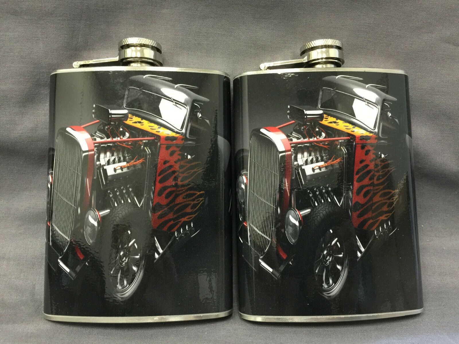 Set of 2 Hot Rod D 3 Flasks 8oz Stainless Steel Drinking Whiskey