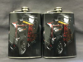Set of 2 Hot Rod D 3 Flasks 8oz Stainless Steel Drinking Whiskey - $12.63