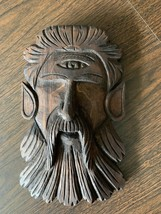Antique Carved Wood Cyclops Head Beast Architectural Salvage Wall Hanging - $9.74