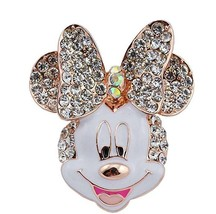Crystal Minnie Mouse Head Brooch Pin White Rose Gold Tone - $16.82