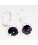 African Purple Amethyst Round Dangle Earrings, Leverback,  925 Silver, 3.75(TCW) - $19.99