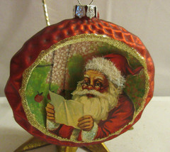 "NEW! RAZ Imports 4"" Glass Vintage Christmas Santa Shadow Box Ornament - $7.13"