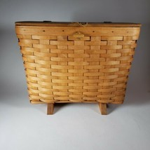 Longaberger medium  Basket w/ Leather Hinged Lid. Plastic insert. Missin... - $9.74