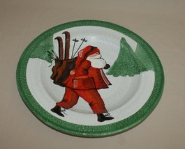 "15"" Sur La Table Santa Claus & Skis Round Christmas Serving Platter Chop... - $42.52"