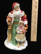 Santa Figurine w/ Girl & Teddy Bear St Nick Claus Avon 1995 Christmas Vi... - $10.88
