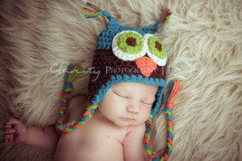 Knit Crochet Baby Child Kids Owls Hat Beanie Newborn Photo Prop Hat Blue... - $4.99