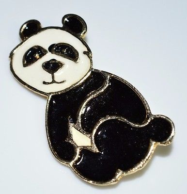 VTG BEATRIX Black Off White Enamel Panda Pin Brooch