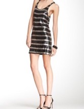 Joes Jeans Sequin Black Silver Sleeveless Mini Tank Striped Bodycon Dress S - $32.91