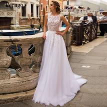 Elegant 3D Floral Lace Applique Luxury Bridal Gown A-Line Tulle Skirt