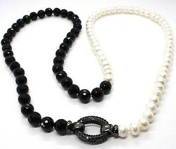 SILVER 925 NECKLACE, ZIRCON CUBIC BLACK, ONYX, PEARLS, LENGTH 80 CM BICOLOR - $307.17