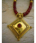 Genuine Faceted Ruby & 20K Gold Necklace With G... - $350.00