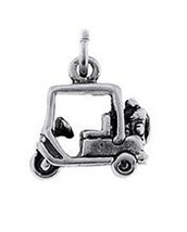 Sterling Silver Three Dimensional Golfer's Golf Cart Charm / Pendant - $10.79