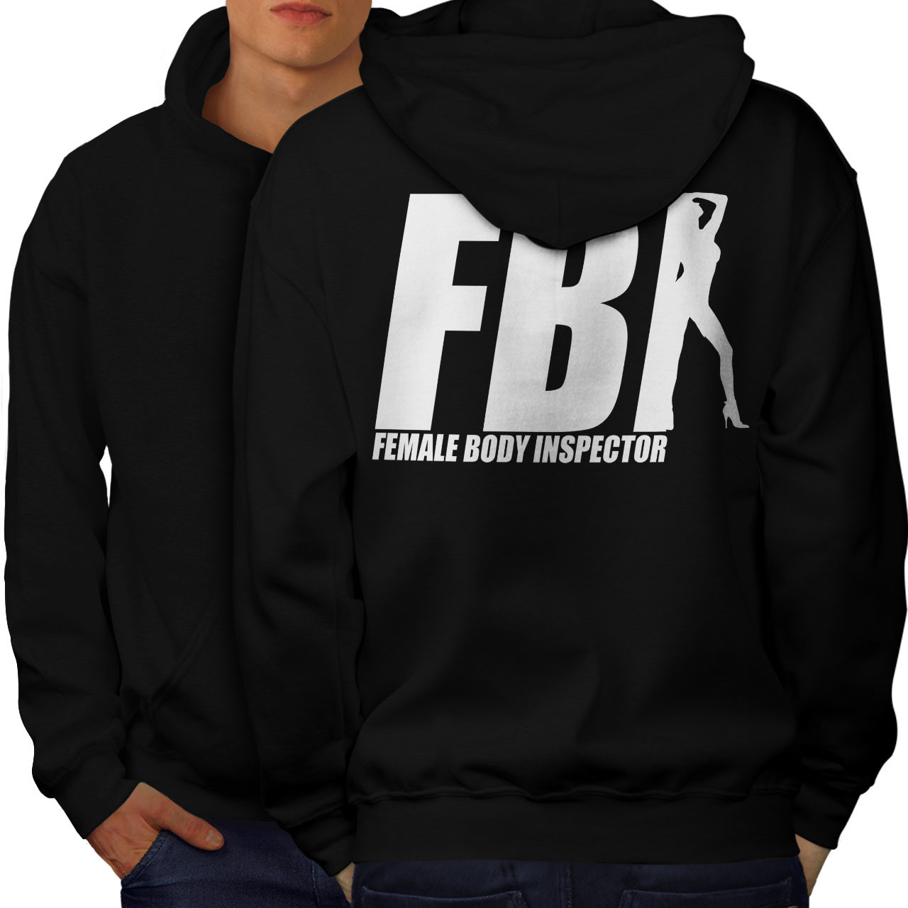Primary image for FBI Offensive Joke Funny Sweatshirt Hoody FBI Chick Men Hoodie Back