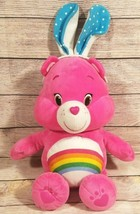 Care Bears Plush Cheer Bear Stuffed Animal Just Play Pink Rainbow Bunny ... - $33.94