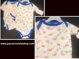 BABY Body Suit Pink Flamingos 3 PCS Infant 6/9 Months 100% Cotton - $13.99