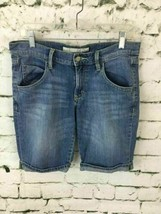 Old Navy Women's 8 Jean Shorts Blue Denim Mid-Rise Classic Bermuda Cuffed - $9.89
