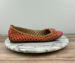 Sperry Top-Sider Elise Women Sz 7.5 Orange/Pink Perforated Leather Ballet Flats - $24.95