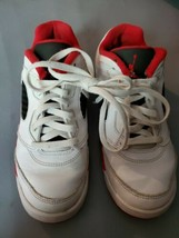 Nike Air Jordan V 5 Retro Low White Fire Red Size 3Y  Pre-owned Basketba... - $29.69