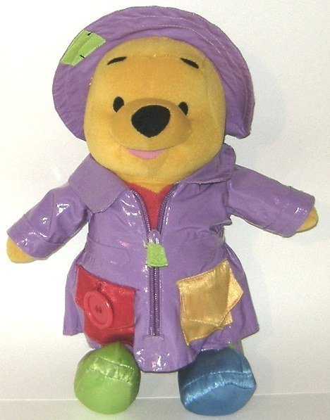 50% off! Talking Winnie Pooh Teaching Plush Doll Raincoat