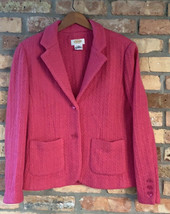 Talbots Women's Petite S Pink 100% Wool Cable Knit Sweater Blazer Button... - $54.45
