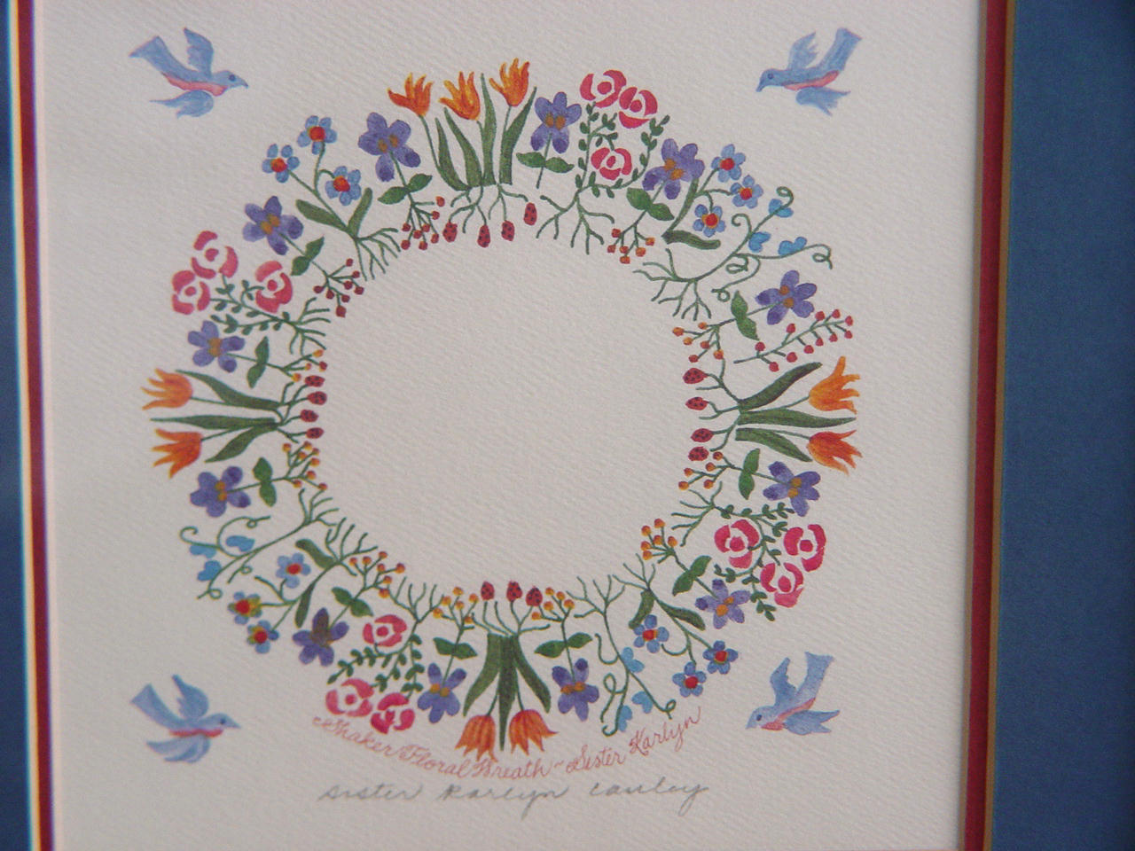 Sr. Karlyn Cauley Signed, Framed, Shaker Calligraphy Wreath Print