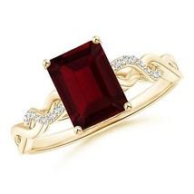 Solitaire Emerald Cut Garnet Diamond Engagement Ring 14k Yellow Gold/ Si... - $275.32+