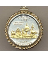State of Virginia , 2-Toned, Gold on Silver, U.S. Quarter Pendant Necklace - $132.00