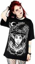 Restyle Elfo Bruja Gótico Punk Pagano Wicca Crescent Luna Grande Camiseta - $26.24