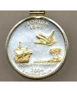 State of Florida , 2-Toned, Gold on Silver, U.S. Quarter Pendant  Necklace - $85.00