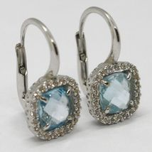 18K WHITE GOLD LEVERBACK EARRINGS CUSHION BLUE TOPAZ, ZIRCONIA FRAME, ITALY MADE image 3