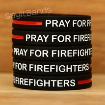 Set of PRAY FOR FIREFIGHTERS Wristbands - Bracelet Lot with Thin Red Line - $4.93+