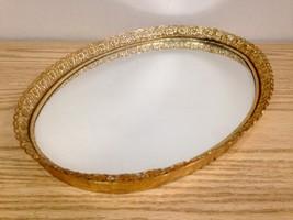Vintage Brass Filagree Mirrored Oval Vanity Tray - $19.95