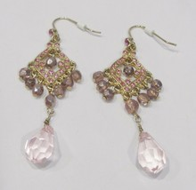pink crystal and purple bead dangle earrings - $5.00