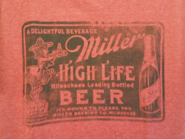 New Miller High Life Beer Retro Ad Adult Medium Soft Red T-shirt Milwaukee