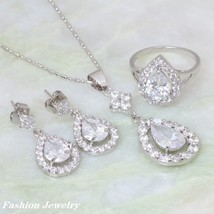 Brand designer Fashion Jewelry Sets white Cubic Zirconia silver Pendant/... - $16.98