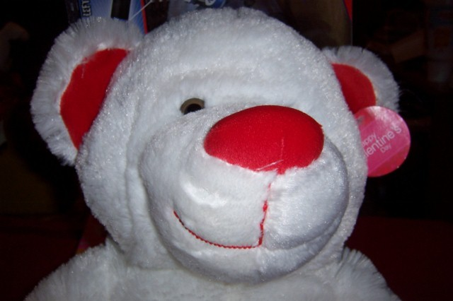 Large Valentine Plush Bear NEW 3 Hearts White Red BEAR