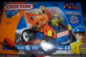 Erector Dump Truck NEW Builds 4 Toys #4100 2 Figures HTF