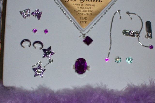 Cute Girls Purple Jewelry Set NEW Necklace Earrings Ring Bracelet Glam Set