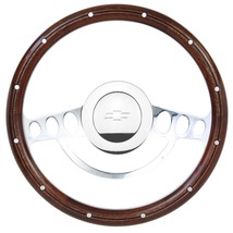 1960 - 1969 Chevy Pick Up w/Ididit Column -  Wood & Chrome Steering Wheel - $189.90