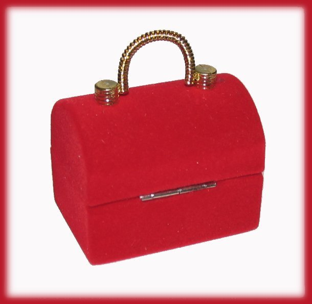 Ring Box Mini Treasure Chest Handbag Faux Velvet GIFT BOX