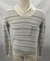 Perry Ellis Men's Marled Shawl Striped Sweater Cream S 4CFG7255 - $24.74