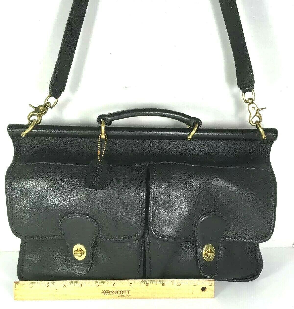 Coach Vintage Black Leather Briefcase Messenger Bag Detachable Strap-Made In USA