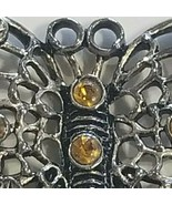 Butterfly Hair Pin With Citrine Gemstones Beautiful Keepsake Vintage - £18.11 GBP