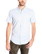 Calvin Klein Men's Short Sleeve Cotton Twill Shirt Placid Blue Sz-M - $23.96