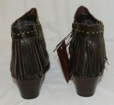 Lucky And Blessed SH 11 Dark Brown Leather Boots Fringe Metal Studs Size 10 image 4