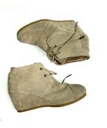 TOMS Women's Desert Boots Light Grey Suede Lace Up Platform Wedge Bootie... - $39.42