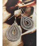 Handmade teardrop earrings, tribal filigree earrings  - $23.80